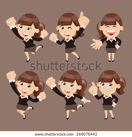 Set of businesswoman characters in different poses - stock vector