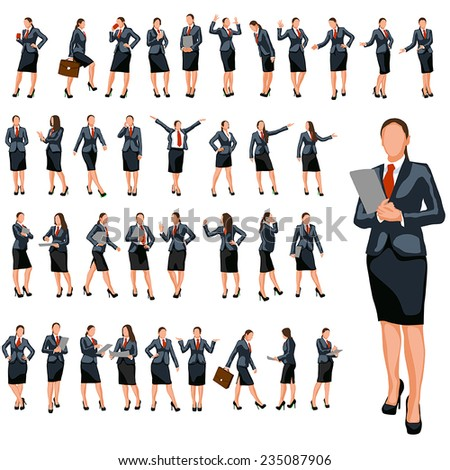 set of businesswoman in different poses in color - stock vector