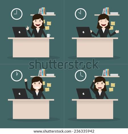 Set of businesswomen different time,Vector EPS10. - stock vector