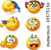 set of butch fun round emotion smiles character - selfkiller, sleepy, girl, crazy, fighting - stock photo