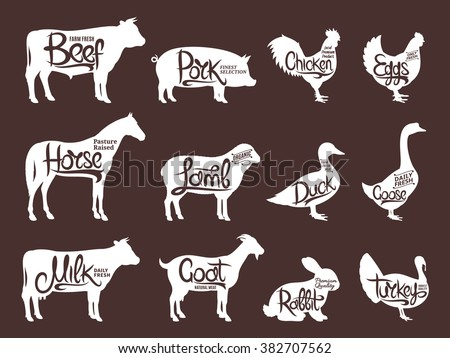 Set of butchery logos. Farm animals with sample text. Retro styled farm animals silhouettes collection for groceries, meat stores, packaging and advertising. Vector logotype design. - stock vector
