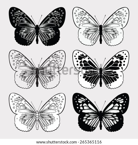 Set of butterflies black and white, hand-drawing. Vector illustration. - stock vector