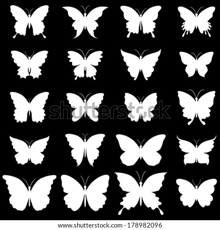 Set of butterflies for design - stock vector