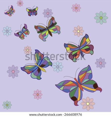 Set of butterflies with flowers.