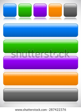 Set of button, banner backgrounds w/ empty space for print or web design. Square and rectangle version with rounded corners and highlight effect. - stock vector