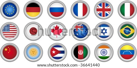 Set of 18 buttons for several countries - stock vector