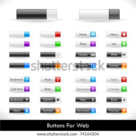 Set of buttons for web. Vector. - stock vector