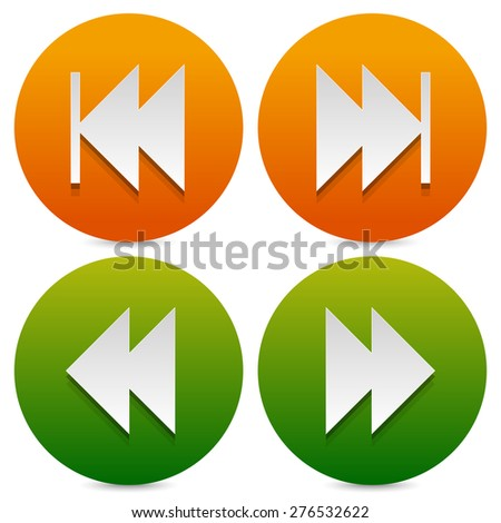 Set of buttons, icons with next, previous and fast forward, backward arrows. - stock vector