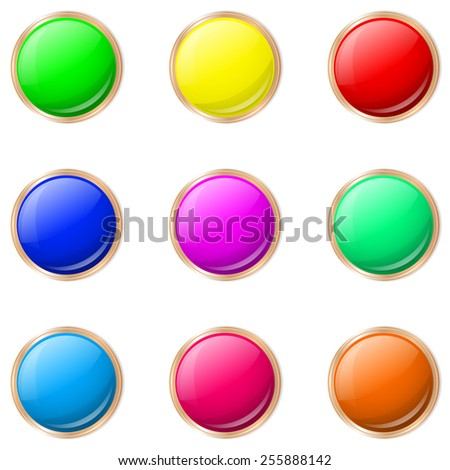 Set of buttons in different colors.