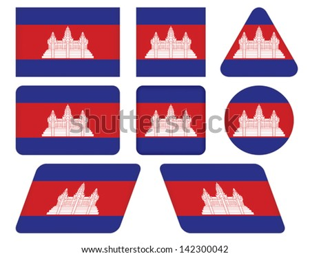 set of buttons with flag of Cambodia - stock vector