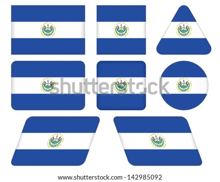 set of buttons with flag of El Salvador - stock vector