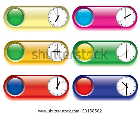 Set of buttons with images of alarm clocks. - stock vector