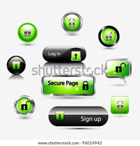 Set of buttons with security lock symbol: log-in pages, security connection, status. - stock vector