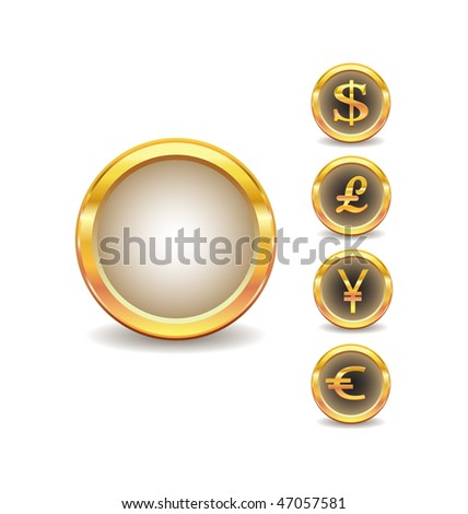 set of buttons with words currency icons - stock vector