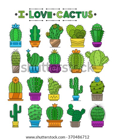 Set of cacti in pots, flat style. Vector collection icons of cactuses.Graphic set with cute florals.  I love cactus - stock vector