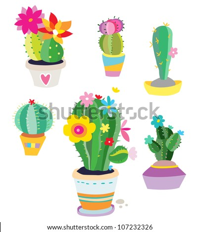 Set of cactus plants with various shapes and colors created in a fun, stylized style. - stock vector