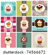 Set of cake cards template - stock