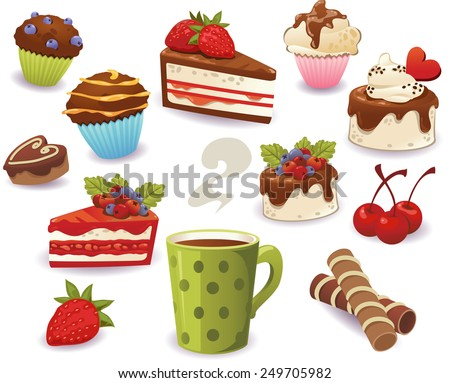 Set of cakes and other sweet food, isolated on white background - stock vector