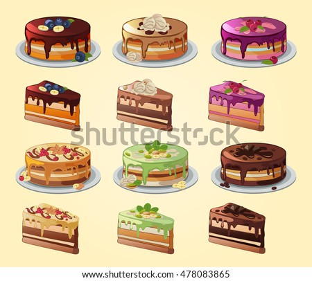 different cake flavors set cakes slices different flavors collection stock vector 3537
