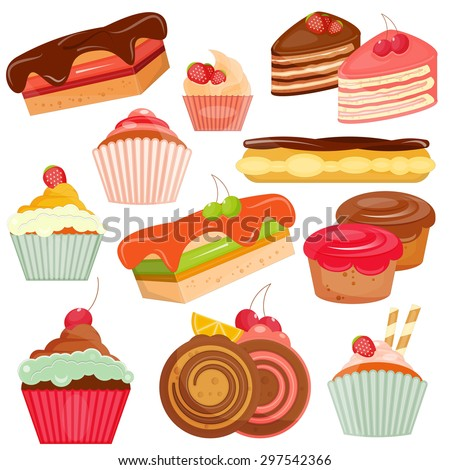 Set of Cakes Isolated on White Background. Layered File. Vector Illustration. - stock vector