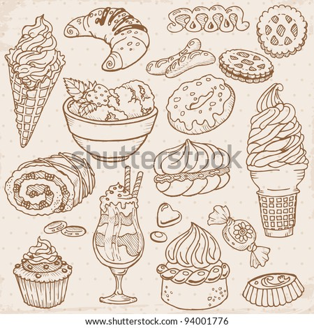 Set of Cakes, Sweets and Desserts - hand drawn in vector - stock vector
