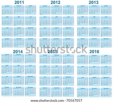 Set of 2011 - 2016 Calendar - stock vector