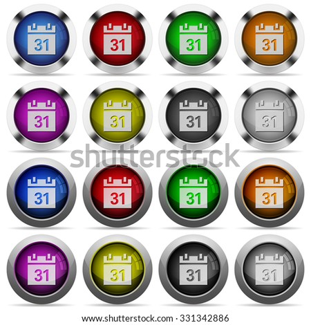 Set of calendar glossy web buttons. Arranged layer structure. - stock vector