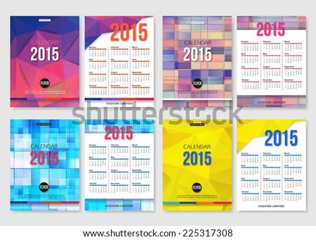 Set 2015 Calendar Template Brochure Geometric Vector – Calendar Flyer Template
