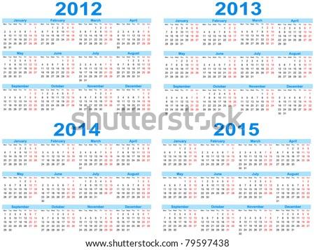 Set of 2012 - 2015 calendar, vector - stock vector