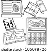 Set of calendars isolated on white background - hand-drawn illustration - stock photo