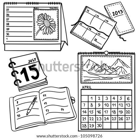 Set of calendars isolated on white background - hand-drawn illustration - stock vector