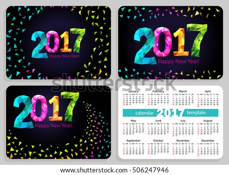 Set of calendars with black cover. Sunday start calendar. Pocket calendar. Calendar 2017. Vector.