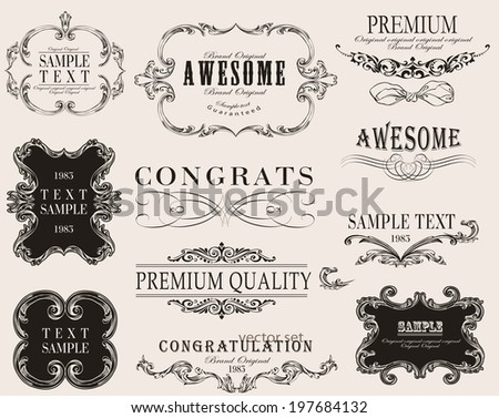 Set of calligraphic and floral design elements.  - stock vector