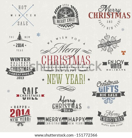 Set of calligraphic and typographic christmas elements, frames, vintage labels and borders. - stock vector