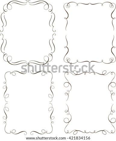 Set of calligraphic decorative frames - stock vector