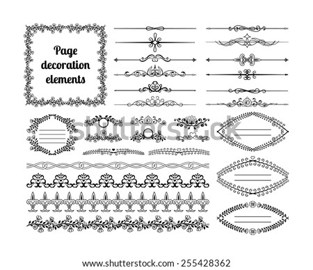 Set of calligraphic design elements for page decoration. Dividers, vignettes, scrolls, frames and borders, curls. Vector illustration - stock vector