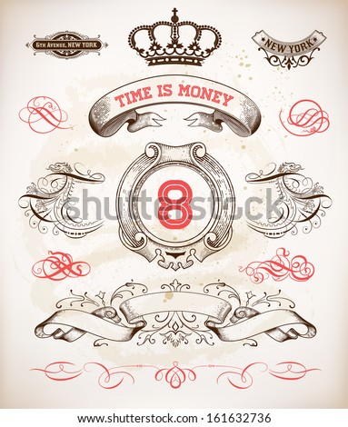 Set of calligraphic design elements: Heraldry, labels, baroque frames and floral ornaments collection - stock vector