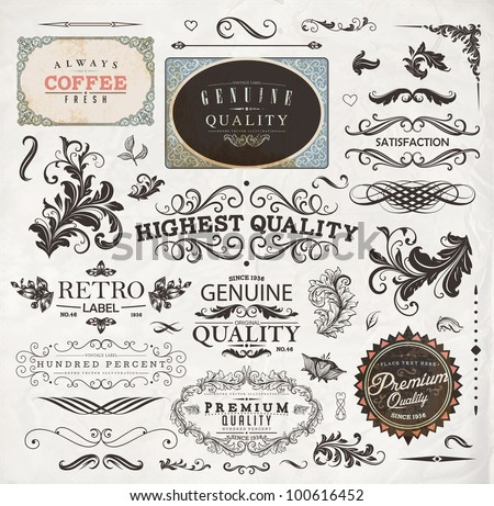 Set of calligraphic design elements, page decoration, old style floral frames for vintage design | eps10 vector collection - stock vector