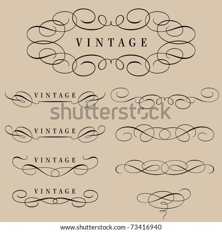set of calligraphic elements and page decoration - stock vector