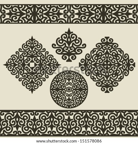 Set Of Calligraphic Elements For Design. 4 Ornaments & 2 Borders - stock vector