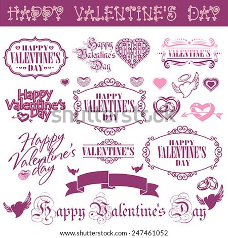 Set of calligraphic elements of the holiday Valentine's Day and love wishes - stock vector