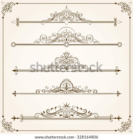 Set of Calligraphic frames vector illustration. Saved in EPS 8 file with all elements are separated, well designed for easy editing. - stock vector