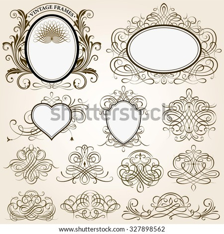 Set of calligraphic frames vector illustration with all separated elements. - stock vector