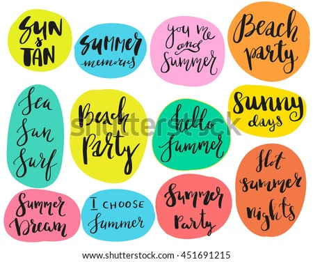 Superieur Set Of Calligraphic Summer Theme Sayings In Stickers, Badges. Isolated  Vector Illustrations On White