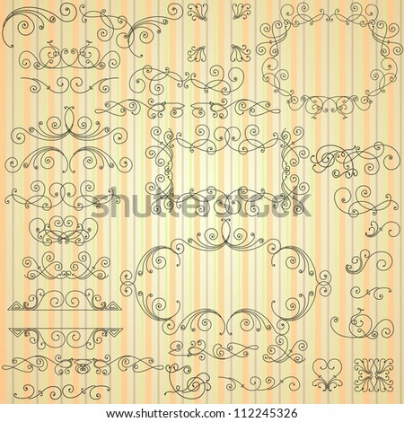 Set of calligraphic swirls for design - stock vector