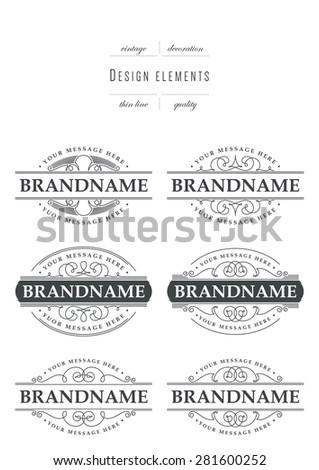 Set of calligraphic template elegant ornament lines - stock vector