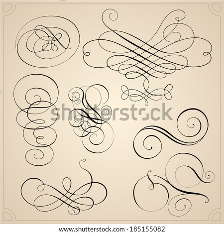 Set of calligraphy elements - stock vector