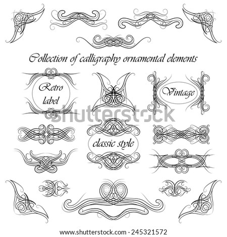 set of calligraphy ornamental elements, vector EPS 8