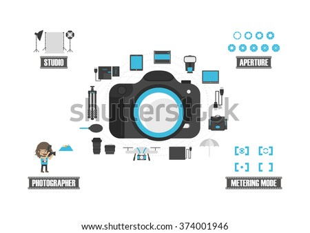 set of camera icon, isolated on white background - stock vector