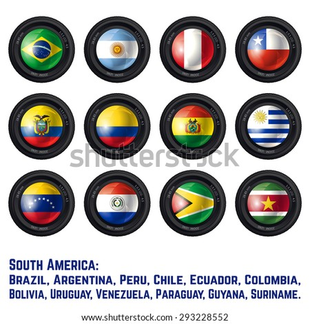 Set of Camera Lens with South American Flags. Vector design. - stock vector